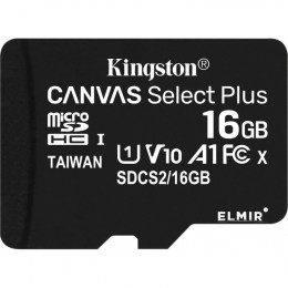 16GB карта памяти microSDHC Canvas Select Plus 100R CL10 UHS-I Kingston (K8SDCS216GB)