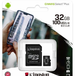 32GB карта памяти microSDHC Canvas Select 100R CL10 UHS-I Kingston (K8SDCS232GBSP)