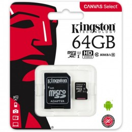 64GB карта памяти microSDXC Canvas Select 80R CL10 UHS-I Kingston (K8SDCS64GBSP)